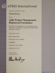 AgilePM Practitioner - Certyfikat Michał Rączka