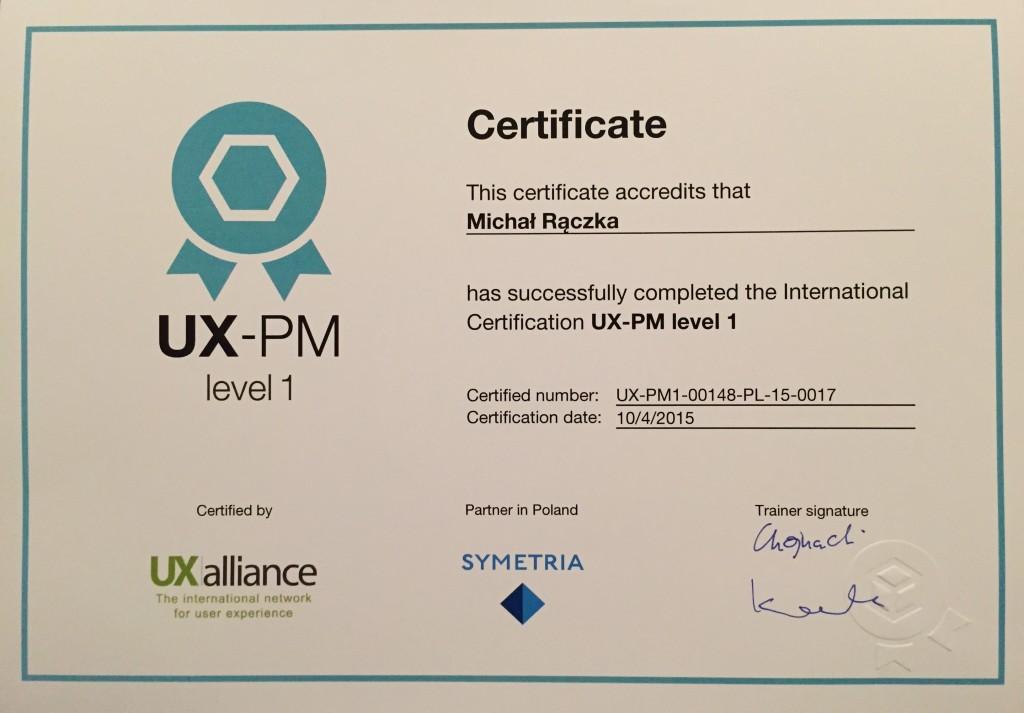 Certyfikat UX-PM